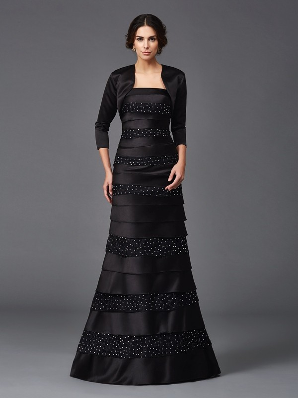 Floor-Length Black Strapless Mother of the Bride Dresses with Beading