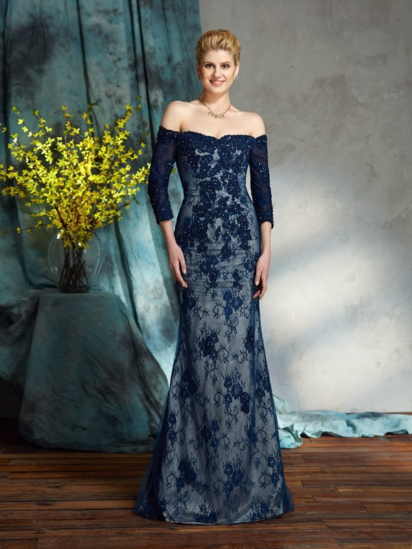 3/4 Sleeves Off-the-Shoulder Floor-Length Other Mother of the Bride Dresses with Lace