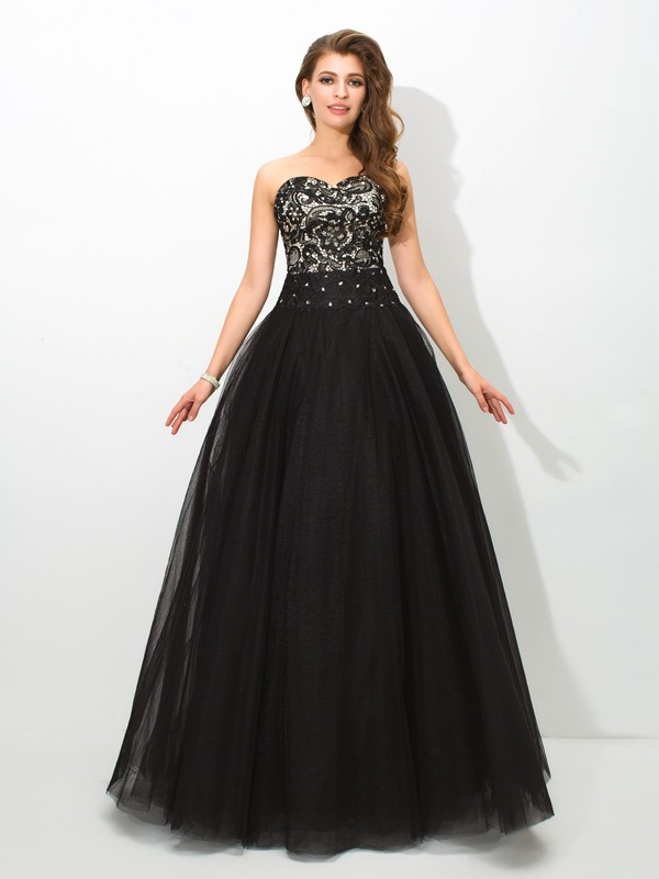 Ball Gown Sweetheart Floor-Length Black Prom Dresses with Lace