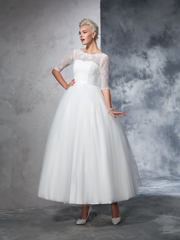 Ball Gown Half Sleeves Bateau Ankle-Length Ivory Wedding Dresses