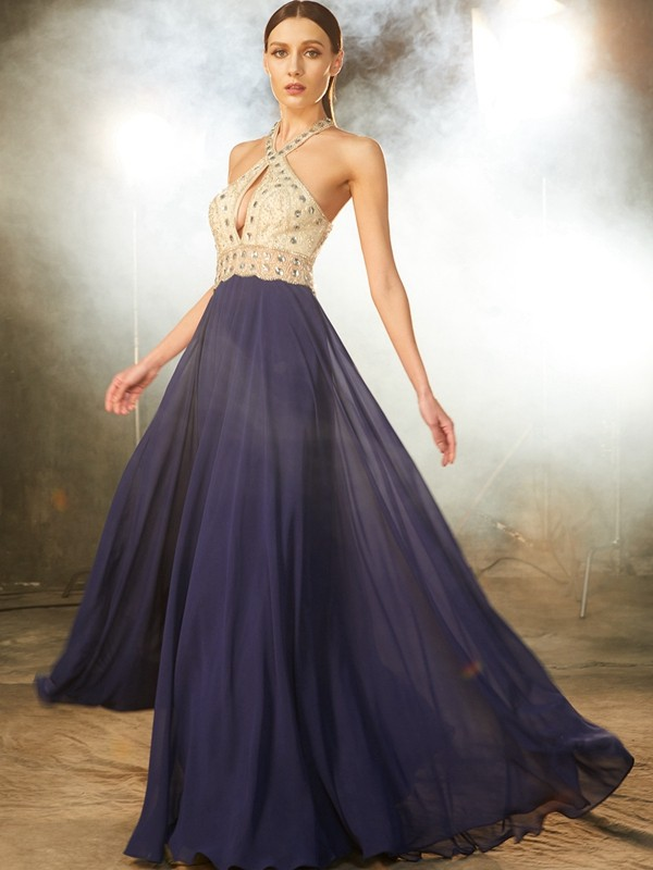 A-Line Straps Floor-Length Dark Navy Prom Dresses with Beading