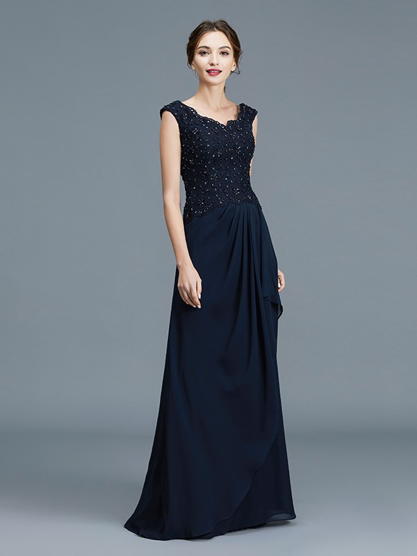 A-Line V-neck Floor-Length Dark Navy Mother of the Bride Dresses