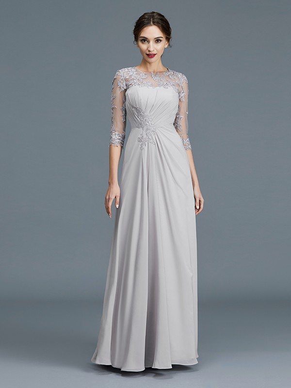 Chiffon 3/4 Sleeves Scoop Floor-Length Silver Mother of the Bride Dresses