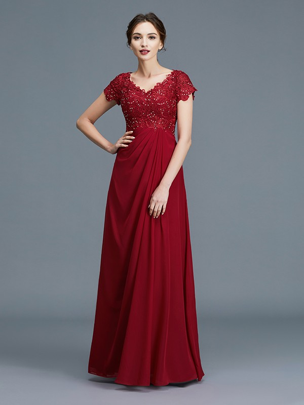 Chiffon V-neck Floor-Length Mother of the Bride Dresses with Ruffles