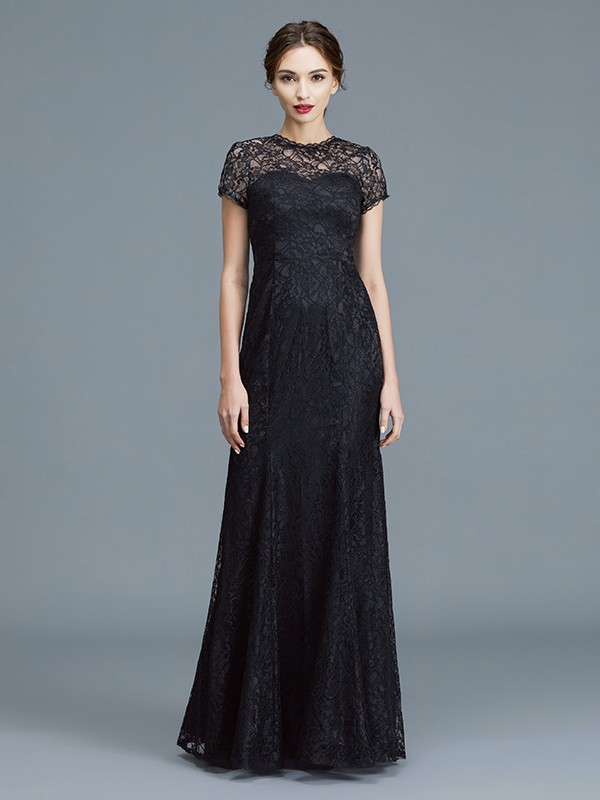 Black Mermaid Scoop Floor-Length Mother of the Bride Dresses with Lace
