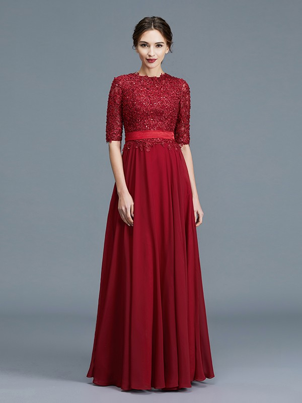 Chiffon Floor-Length Half Sleeves Scoop Burgundy Mother of the Bride Dresses
