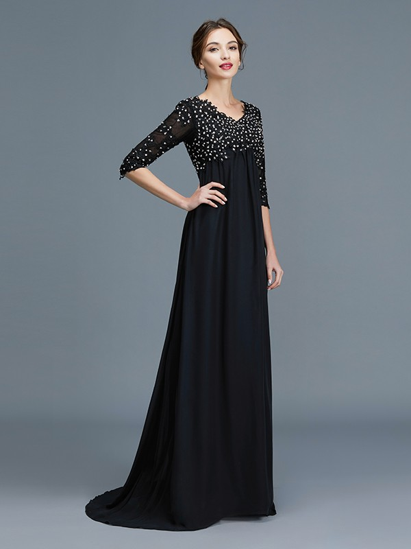 Half Sleeves V-neck Floor-Length Black Mother of the Bride Dresses
