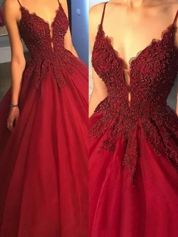 Ball Gown Burgundy Brush Train Applique Tulle Prom Dresses