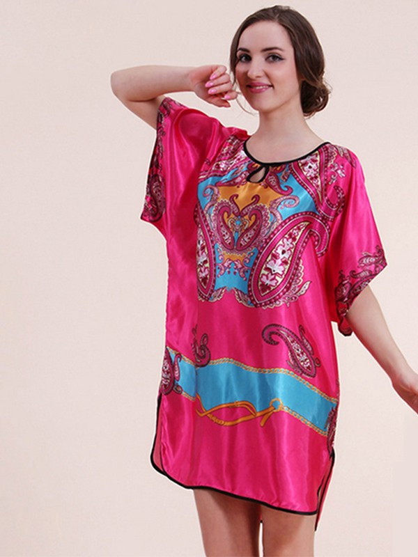 Suitable Silk like Satin Print Pajamas
