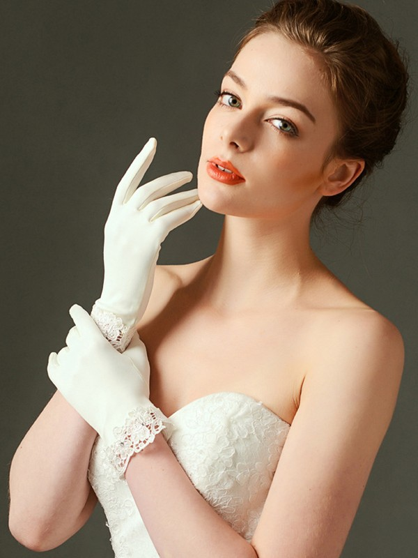 Unique Cloth With Lace Wrist Length Wedding Gloves