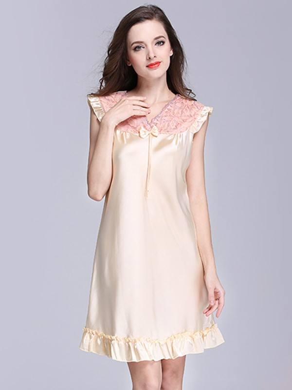 Cute Silk like Satin With Bowknot Pajamas