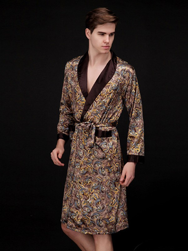 Silk like Satin Print Robes For Men