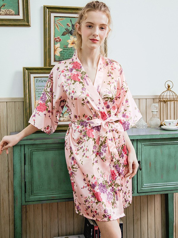 Chic Print Silk like Satin Bride Bridesmaid Mom Robes
