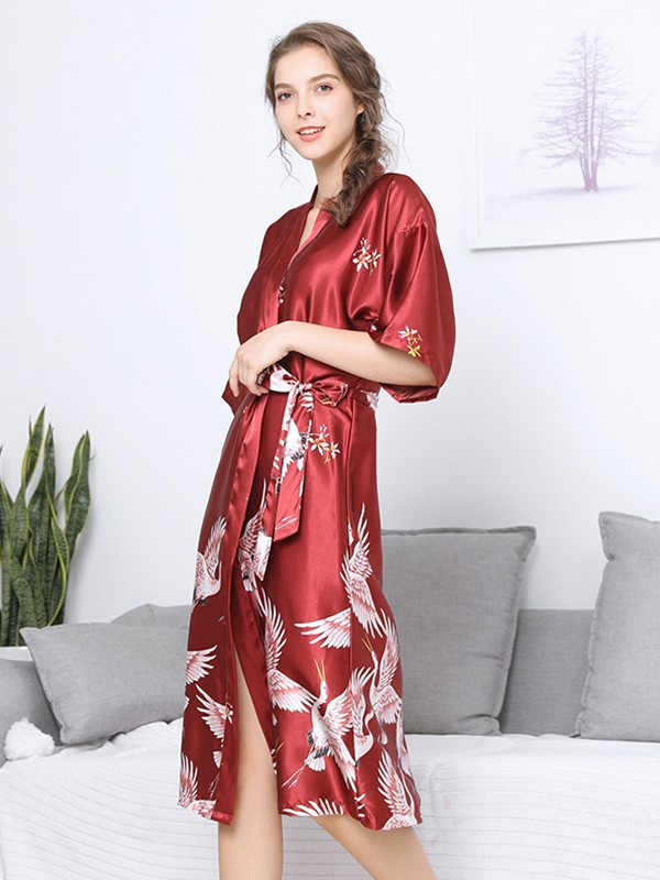 Silk like Satin Bride Bridesmaid Mom Print Robes