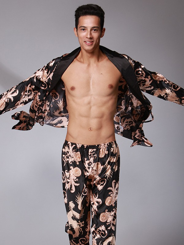 Silk like Satin Print Pajamas Long Sets For Men