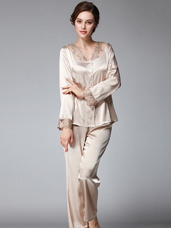 Silk like Satin Pajamas Long Sets