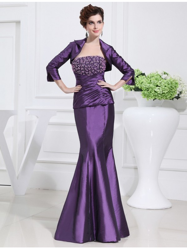 Floor-Length Lilac Strapless Mother of the Bride Dresses with Beading