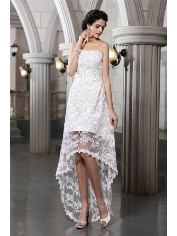 Lace Strapless Asymmetrical White Wedding Dresses