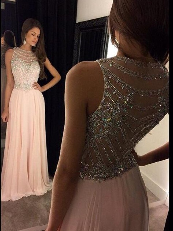 Pink A-Line Scoop Floor-Length Prom Dresses with Crystal