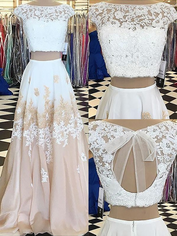 A-Line Bateau Floor-Length White Prom Dresses