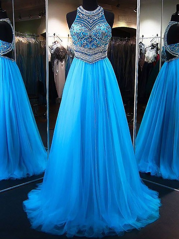A-Line Jewel Brush Train Blue Prom Dresses with Beading