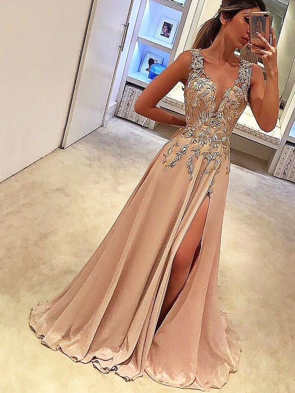 Floor-Length Pearl Pink V-neck Prom Dresses with Applique