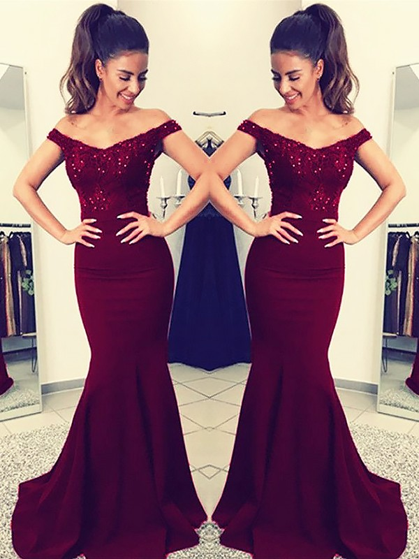 Mermaid Off-the-Shoulder Sweep/Brush Train Burgundy Prom Dresses