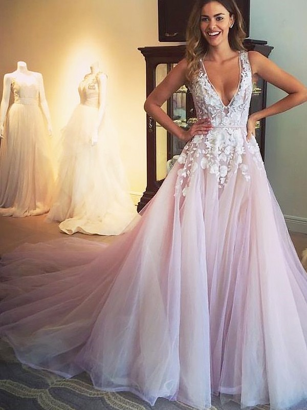 A-Line V-neck Brush Train Pink Prom Dresses with Applique