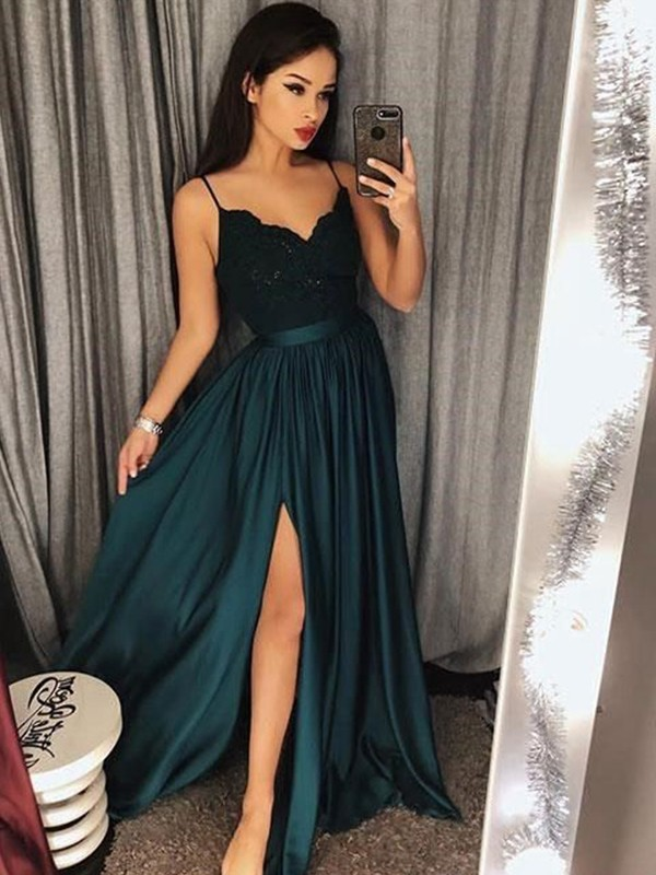 Spaghetti Straps Floor-Length Dark Green Prom Dresses with Lace