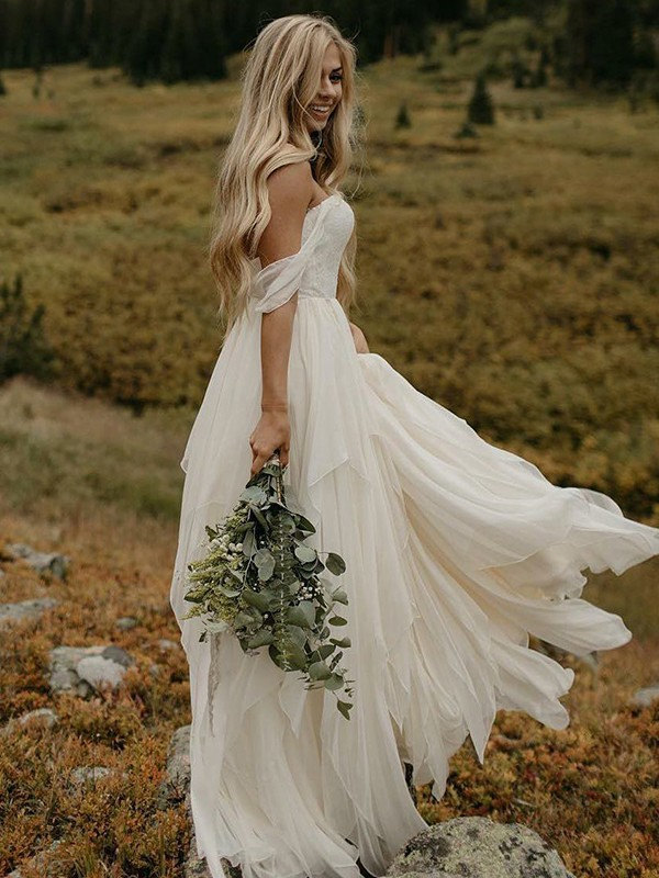 A-Line Off-the-Shoulder Floor-Length Ivory Wedding Dresses with Ruched