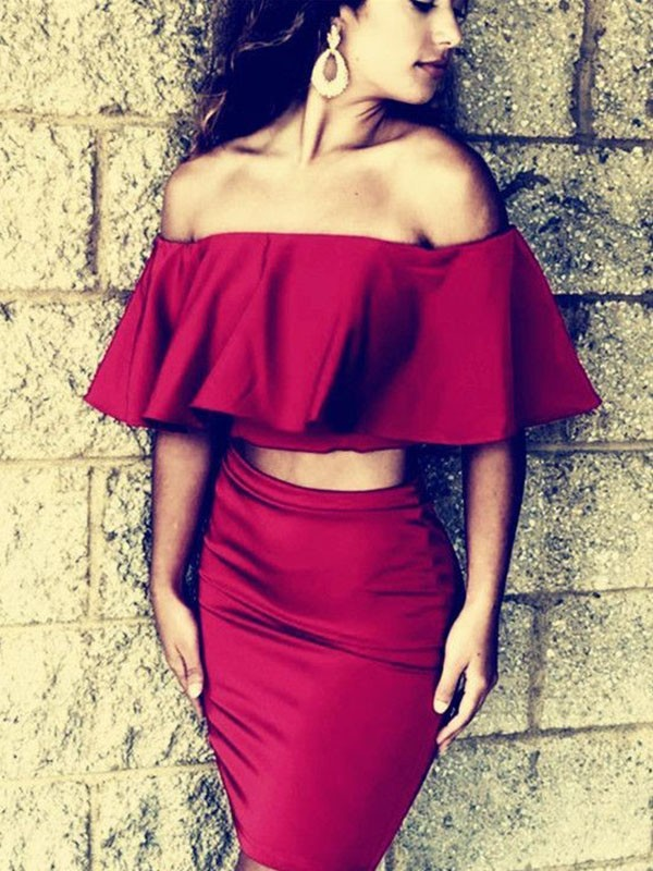 1/2 Sleeves Off-the-Shoulder Two Piece Homecoming Dresses
