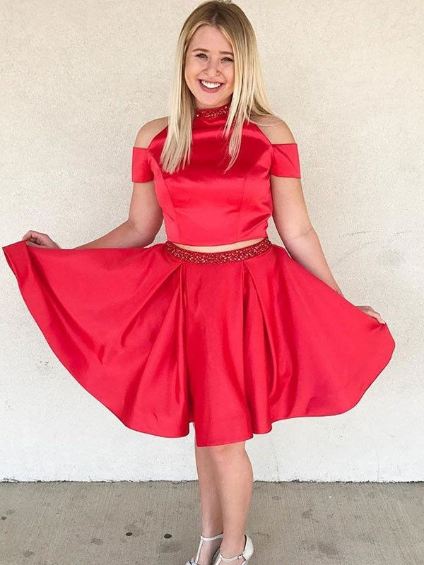 Off-the-Shoulder Satin Knee-Length Two Piece Homecoming Dresses