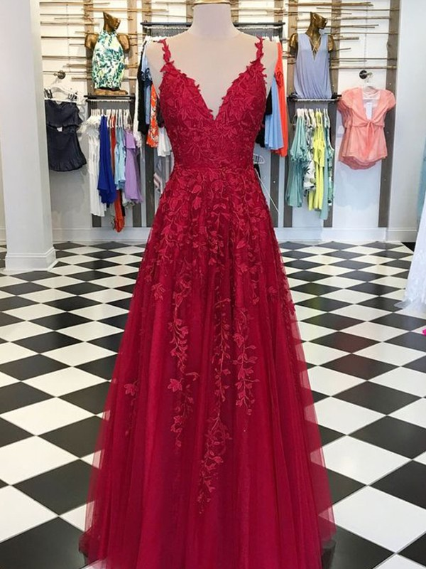 Sleeveless A-Line Floor-Length Red Tulle Prom Dresses