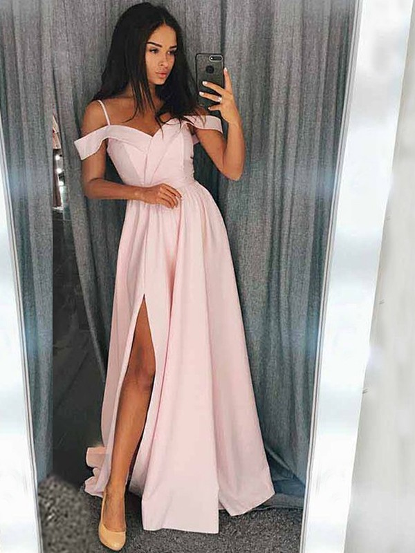 A-Line Pink Brush Train Off-the-Shoulder Elastic Woven Satin Prom Dresses