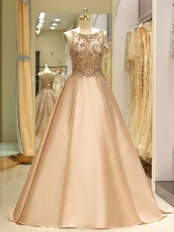 Ball Gown Bateau Champagne Beading Satin Prom Dresses