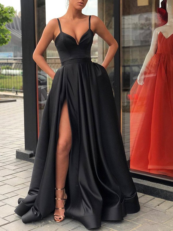 A-Line Straps Brush Train Black Satin Prom Dresses