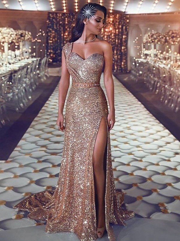 Sheath Champagne Brush Train Beading Sequins Prom Dresses