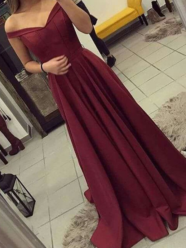 A-Line Sleeveless Brush Train Ruched Satin Prom Dresses