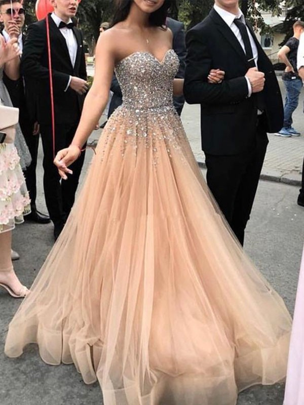 A-Line Sweetheart Brush Train Beading Tulle Champagne Prom Dresses