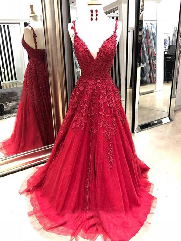A-Line Tulle Applique Sleeveless Brush Train Red Prom Dresses