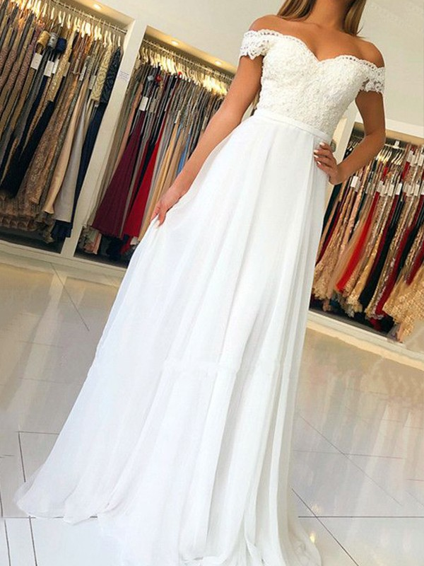 A-Line Off-the-Shoulder Floor-Length Applique Chiffon Prom Dresses