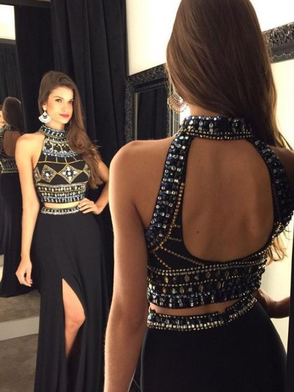 A-Line Halter Floor-Length Black Prom Dresses with Beading