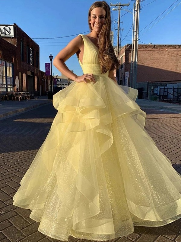 Ball Gown Floor-Length V-neck Ruffles Sleeveless Organza Dresses