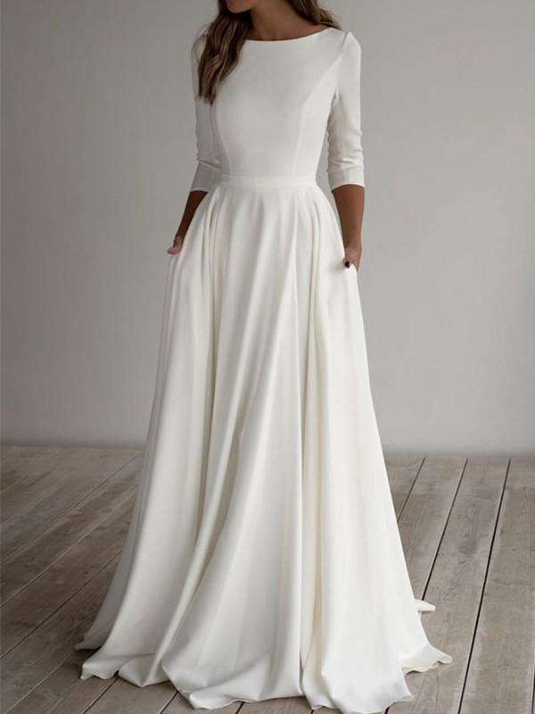 A-Line/Princess Satin Ruffles Scoop 3/4 Sleeves Floor-Length Wedding Dresses