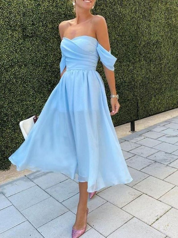 A-Line/Princess Chiffon Ruched Off-the-Shoulder Sleeveless Tea-Length Homecoming Dresses
