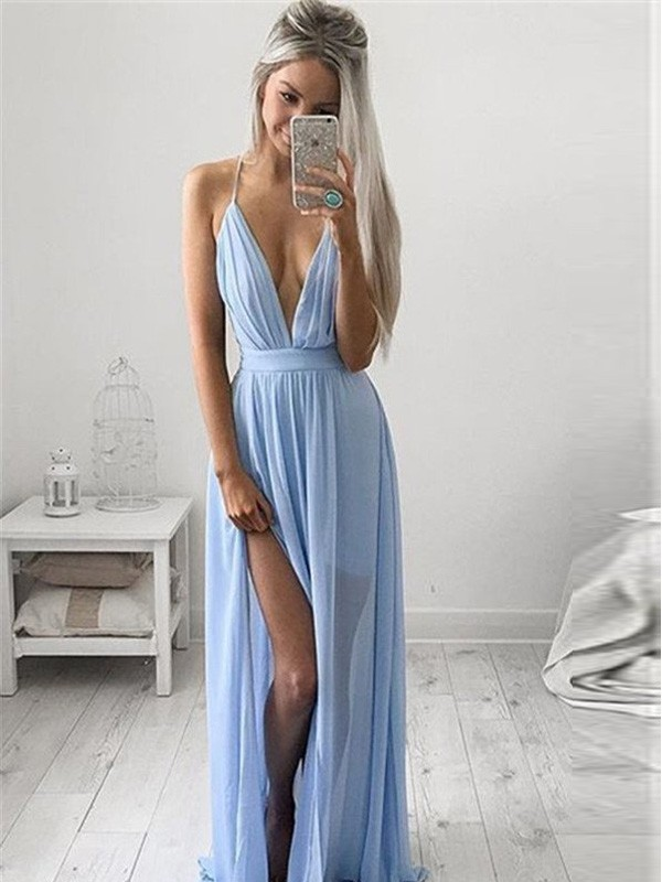 Spaghetti Straps Floor-Length Light Sky Blue Prom Dresses with Ruched