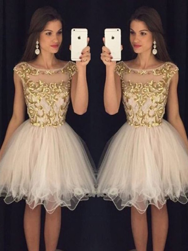 A-Line Scoop Short/Mini Champagne Homecoming Dresses