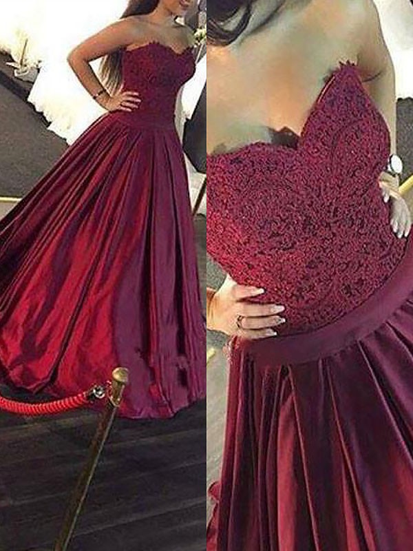 Ball Gown Satin Sweetheart Floor-Length Prom Dresses with Lace