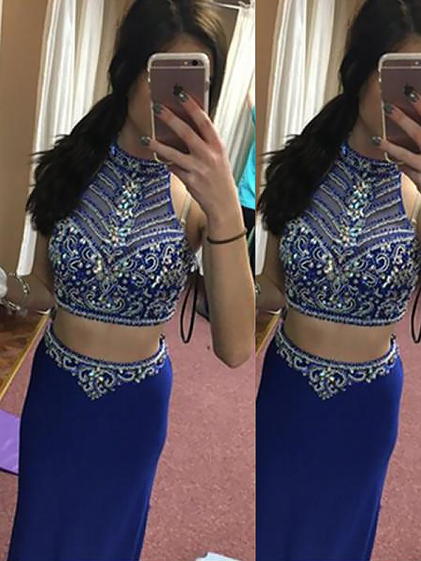 Sheath Halter Floor-Length Royal Blue Prom Dresses with Beading