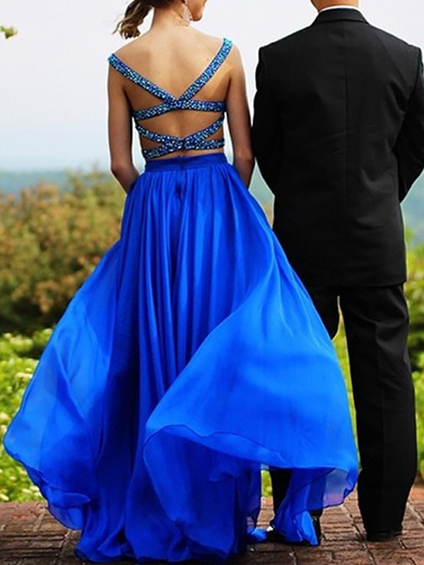 A-Line Sweetheart Floor-Length Royal Blue Prom Dresses with Beading